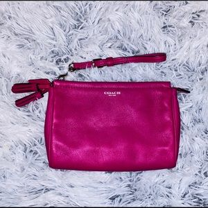 Coach Fuchsia Pink Leather Tassel Zipper Wristlet